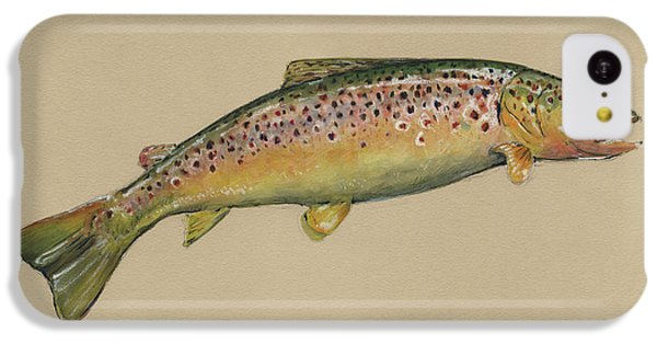 Trout iPhone 5c Case - Brown Trout Jumping by Juan Bosco