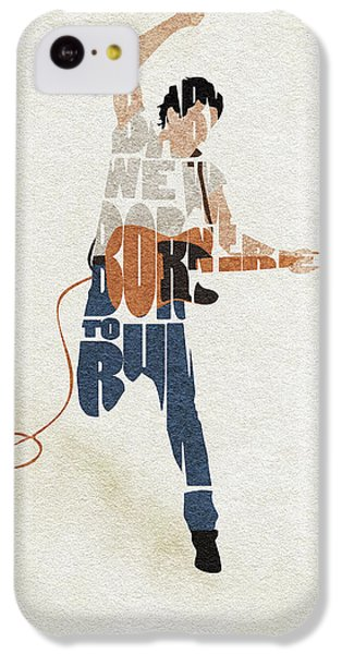 Folk Art iPhone 5c Case - Bruce Springsteen Typography Art by Inspirowl Design