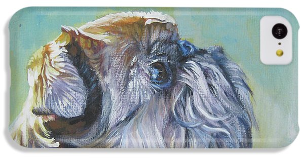 Griffon iPhone 5c Case - Brussels Griffon With Butterfly by Lee Ann Shepard