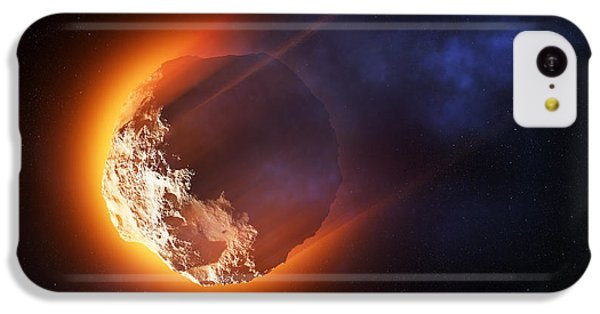 Aliens iPhone 5c Case - Burning Asteroid Entering The Atmoshere by Johan Swanepoel