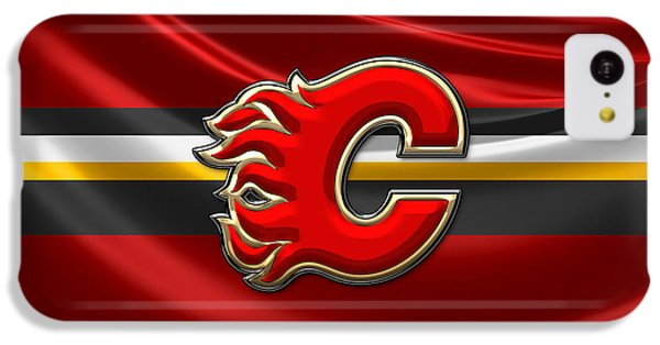 Sport iPhone 5c Case - Calgary Flames - 3d Badge Over Flag by Serge Averbukh