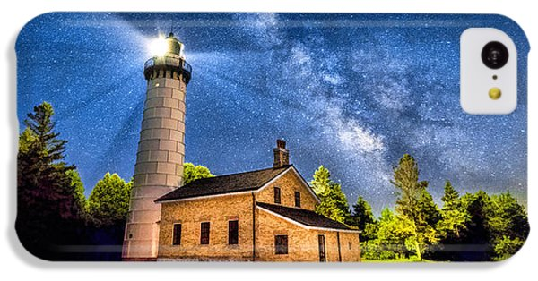 Cana Island Lighthouse Milky Way In Door County Wisconsin IPhone 5c Case by Christopher Arndt