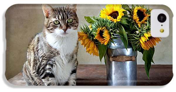 Floral iPhone 5c Case - Cat And Sunflowers by Nailia Schwarz