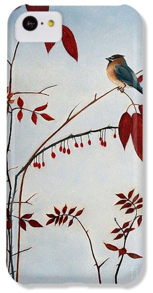 Cedar Waxing iPhone 5c Case - Cedar Waxwing by Laura Tasheiko