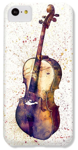 Violin iPhone 5c Case - Cello Abstract Watercolor by Michael Tompsett