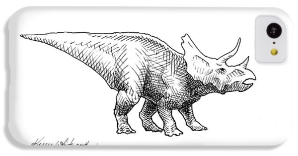 Cera The Triceratops - Dinosaur Ink Drawing IPhone 5c Case