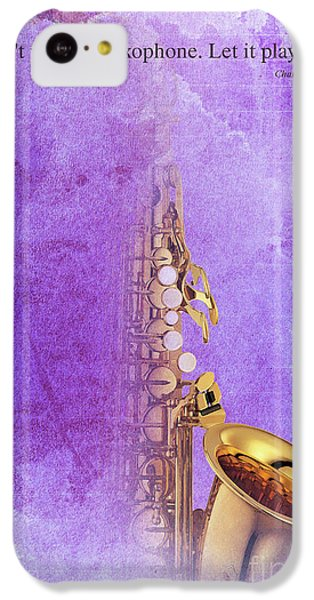 Charlie Parker Saxophone Purple Vintage Poster And Quote, Gift For Musicians IPhone 5c Case by Pablo Franchi