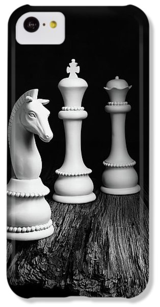 Knight iPhone 5c Case - Chess Pieces On Old Wood by Tom Mc Nemar