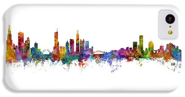 Chicago Skyline iPhone 5c Case - Chicago And Milwaukee Skyline Mashup by Michael Tompsett