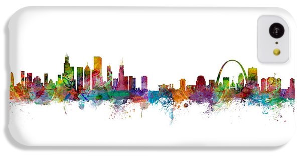 Chicago And St Louis Skyline Mashup IPhone 5c Case by Michael Tompsett
