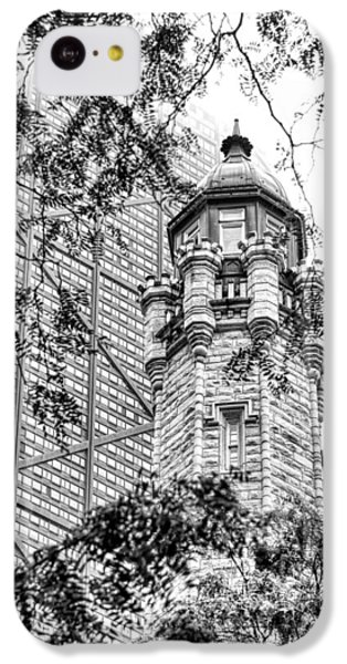 IPhone 5c Case featuring the photograph Chicago Historic Water Tower Fog Black And White by Christopher Arndt