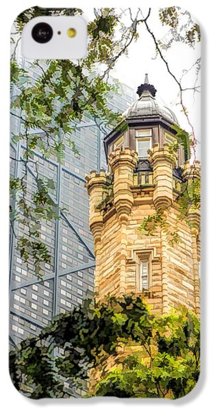 IPhone 5c Case featuring the painting Chicago Historic Water Tower Fog by Christopher Arndt