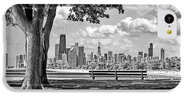 IPhone 5c Case featuring the photograph Chicago North Skyline Park Black And White by Christopher Arndt