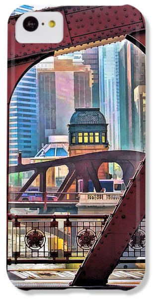 IPhone 5c Case featuring the painting Chicago River Bridge Framed by Christopher Arndt