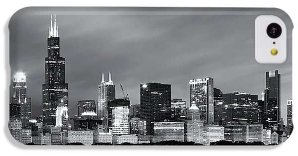 IPhone 5c Case featuring the photograph Chicago Skyline At Night Black And White  by Adam Romanowicz
