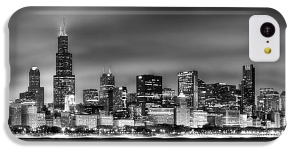 City Scenes iPhone 5c Case - Chicago Skyline At Night Black And White by Jon Holiday