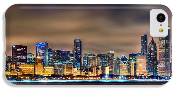 Chicago Skyline At Night Panorama Color 1 To 3 Ratio IPhone 5c Case by Jon Holiday