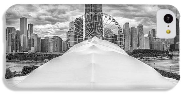IPhone 5c Case featuring the photograph Chicago Skyline From Navy Pier Black And White by Adam Romanowicz