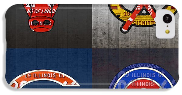Chicago Sports Fan Recycled Vintage Illinois License Plate Art Bulls Blackhawks Bears And Cubs IPhone 5c Case by Design Turnpike