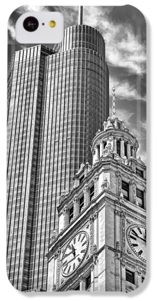 IPhone 5c Case featuring the photograph Chicago Trump And Wrigley Towers Black And White by Christopher Arndt