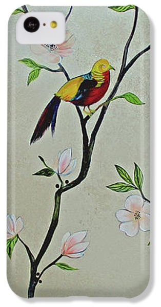 Humming Bird iPhone 5c Case - Chinoiserie - Magnolias And Birds #1 by Shadia Derbyshire