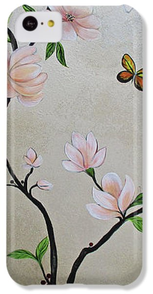 Humming Bird iPhone 5c Case - Chinoiserie - Magnolias And Birds #3 by Shadia Derbyshire