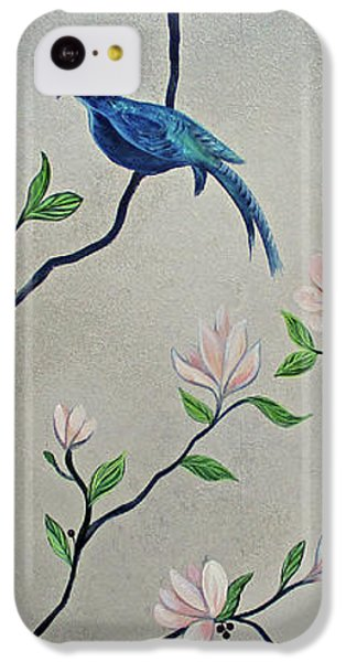 Humming Bird iPhone 5c Case - Chinoiserie - Magnolias And Birds #4 by Shadia Derbyshire