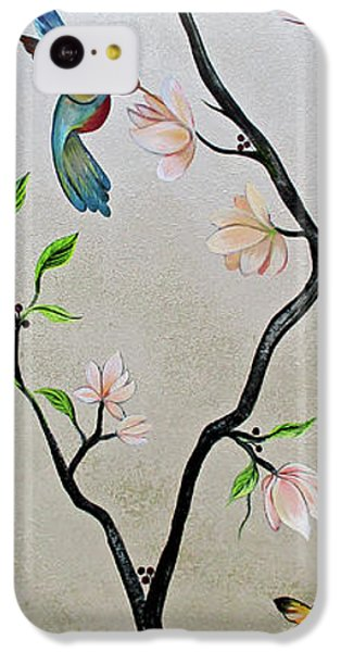 Humming Bird iPhone 5c Case - Chinoiserie - Magnolias And Birds #5 by Shadia Derbyshire