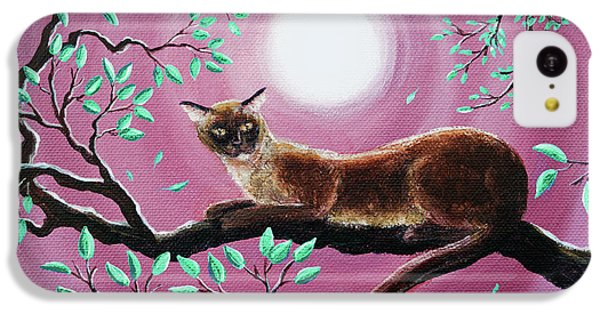 Chocolate Burmese Cat In Dancing Leaves IPhone 5c Case by Laura Iverson