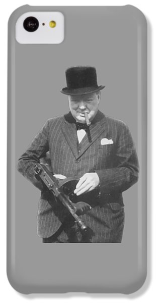 Celebrities iPhone 5c Case - Churchill Posing With A Tommy Gun by War Is Hell Store