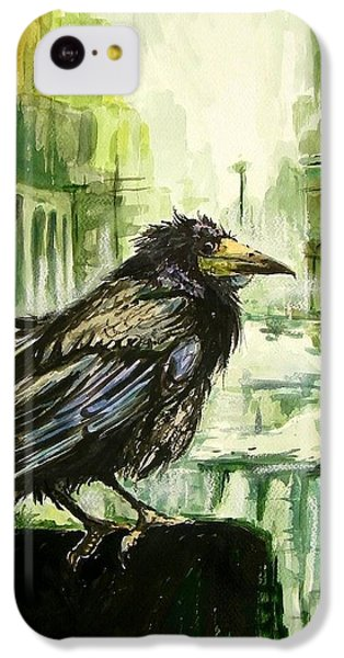 Pigeon iPhone 5c Case - Cityscape With A Crow by Suzann's Art