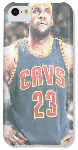 Lebron James iPhone 5c Case - Cleveland Cavaliers Lebron James 5 by Joe Hamilton