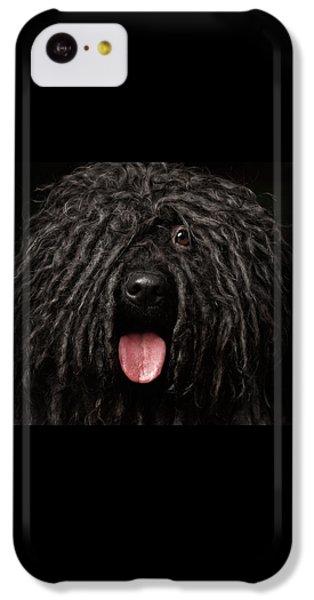 Dog iPhone 5c Case - Close Up Portrait Of Puli Dog Isolated On Black by Sergey Taran