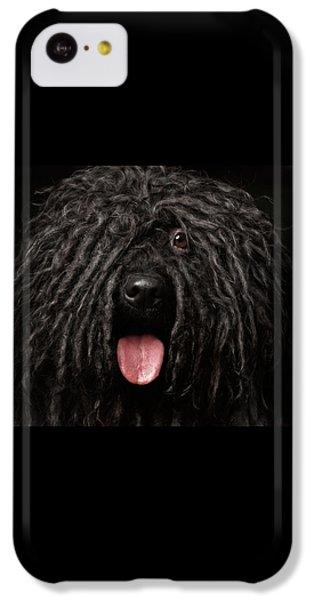 Close Up Portrait Of Puli Dog Isolated On Black IPhone 5c Case by Sergey Taran