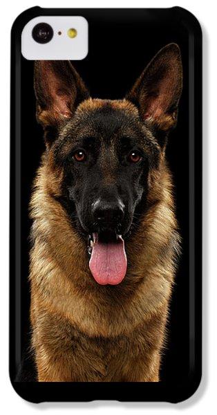 Dog iPhone 5c Case - Closeup Portrait Of German Shepherd On Black  by Sergey Taran