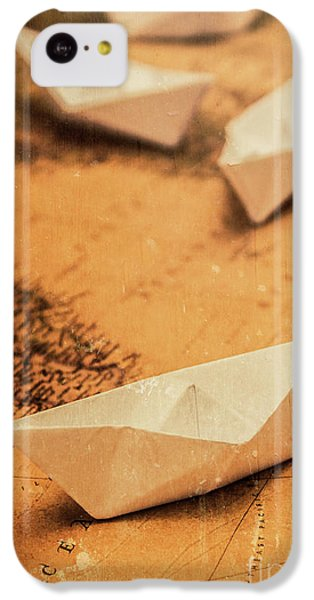 Navigation iPhone 5c Case - Closeup Toned Image Of Paper Boats On World Map by Jorgo Photography - Wall Art Gallery