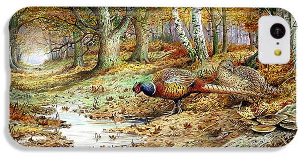 Pheasant iPhone 5c Case - Cock Pheasant And Sulphur Tuft Fungi by Carl Donner