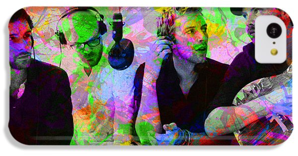 Coldplay iPhone 5c Case - Coldplay Band Portrait Paint Splatters Pop Art by Design Turnpike