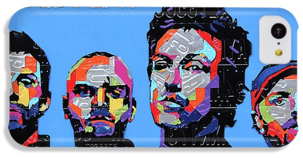Coldplay iPhone 5c Case - Coldplay Band Portrait Recycled License Plates Art On Blue Wood by Design Turnpike