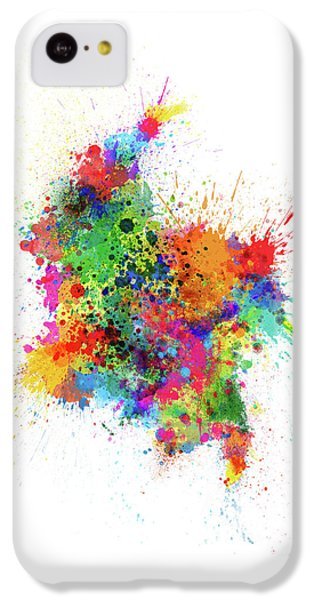 South America iPhone 5c Case - Colombia Paint Splashes Map by Michael Tompsett