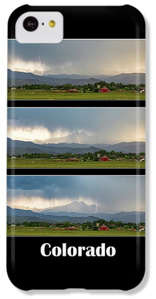 IPhone 5c Case featuring the photograph Colorado Front Range Longs Peak Lightning And Rain Poster by James BO Insogna