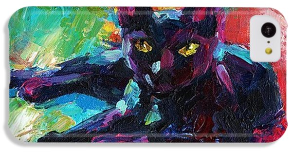 Colorful Black Cat Painting By Svetlana IPhone 5c Case