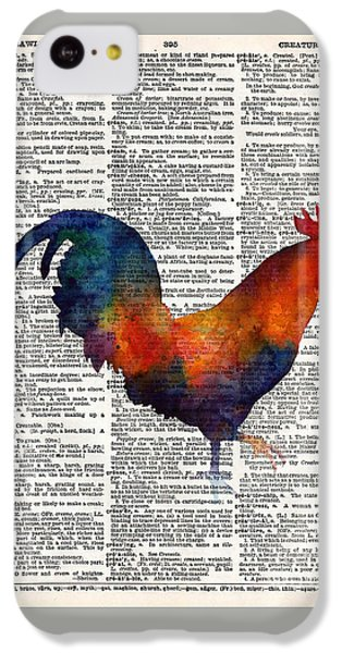 Colorful Rooster On Vintage Dictionary IPhone 5c Case by Hailey E Herrera
