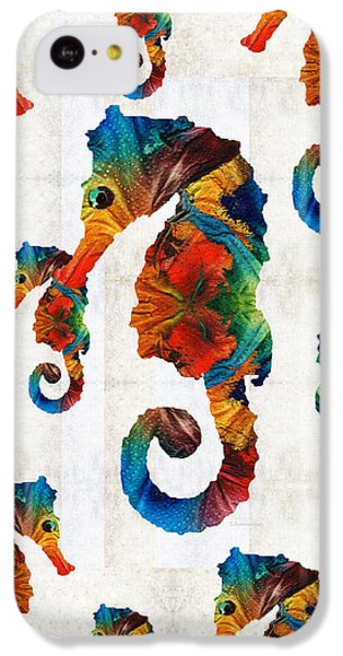 Colorful Seahorse Collage Art By Sharon Cummings IPhone 5c Case by Sharon Cummings