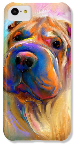 Colorful Shar Pei Dog Portrait Painting  IPhone 5c Case by Svetlana Novikova