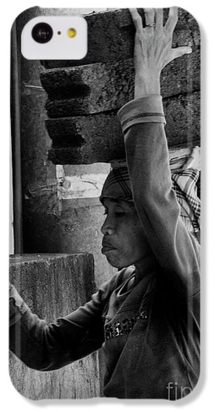 IPhone 5c Case featuring the photograph Construction Labourer - Bw by Werner Padarin