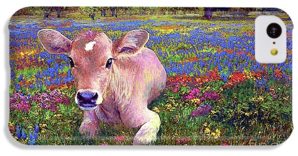 Cow iPhone 5c Case - Contented Cow In Colorful Meadow by Jane Small