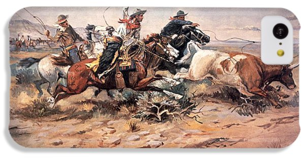 Cowboys Roping A Steer IPhone 5c Case by Charles Marion Russell
