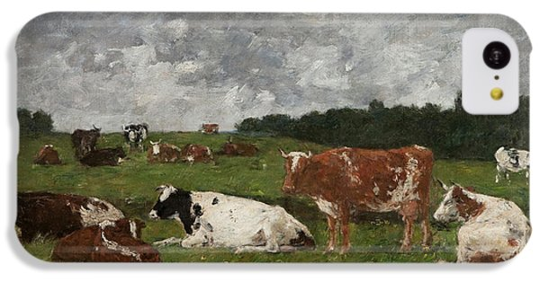 Cows At The Pasture IPhone 5c Case by Eugene Louis Boudin