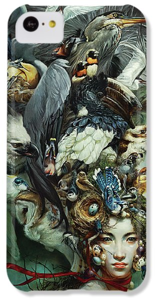 Hornbill iPhone 5c Case - Crimson Ribbon by Heather Theurer
